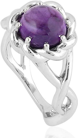 Amethyst Solitaire Wedding Band 6mm Brushed Center Polish Ridge Edge Tungsten Carbide Ring TS0392 Ladies February Birthstone Ring