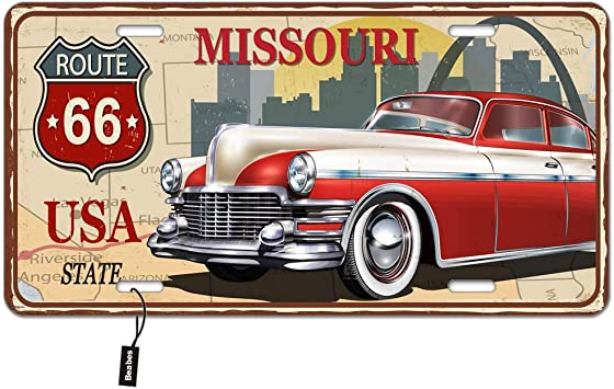 Beabes Missouri State Front License Plate Cover,Vintage Rusty Metal Sign with USA State Route 66 Retro Car Decorative License Plates for Front of Car Vanity Plate for Men Women Alumium 6x12 Inch