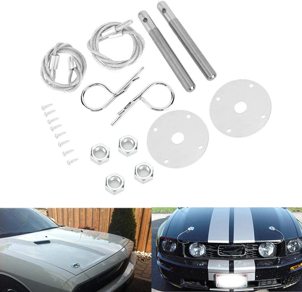 Engine Hood Pin Plate Bonnet Lock Clip Kit Accesorio modificado para autom/óvil Duokon Hood Lock