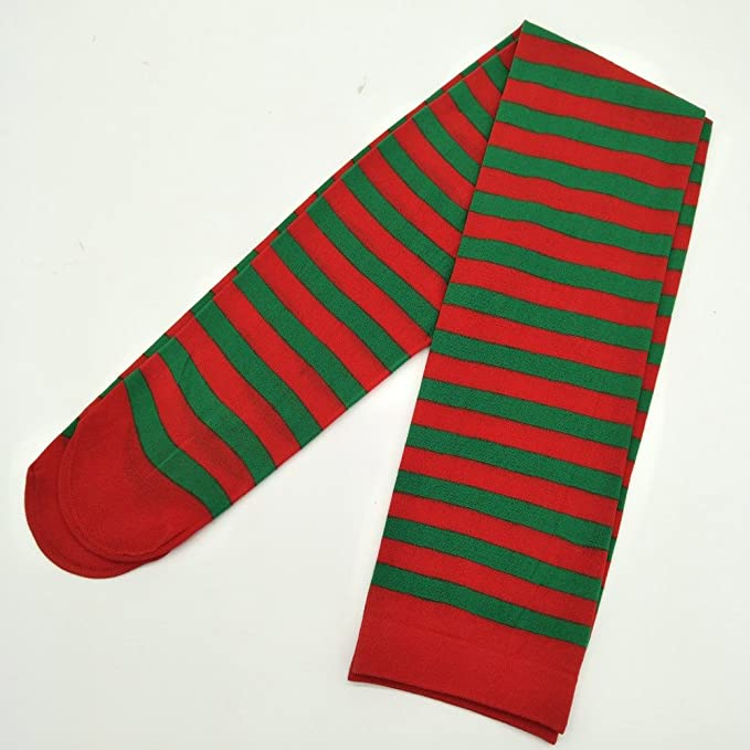 Amazon.com: Yaida💗Elf Tights Striped Red Green Christmas Fancy Dress Costume Knee Stockings (Green): Clothing