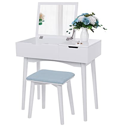 Amazon bewishome vanity makeup table set flip top mirror bewishome vanity makeup table set flip top mirror sliding drawer cushioned stool watchthetrailerfo