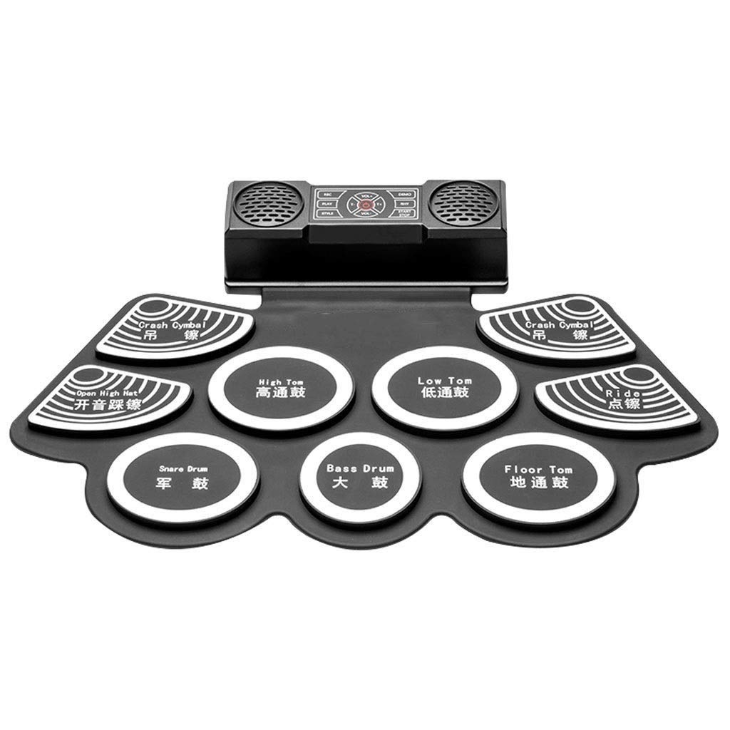 JLL Roll-Up Foldable Electronic Drum Set w/USB MIDI, Speakers, Foot Pedals, Drumsticks - Black by JLL