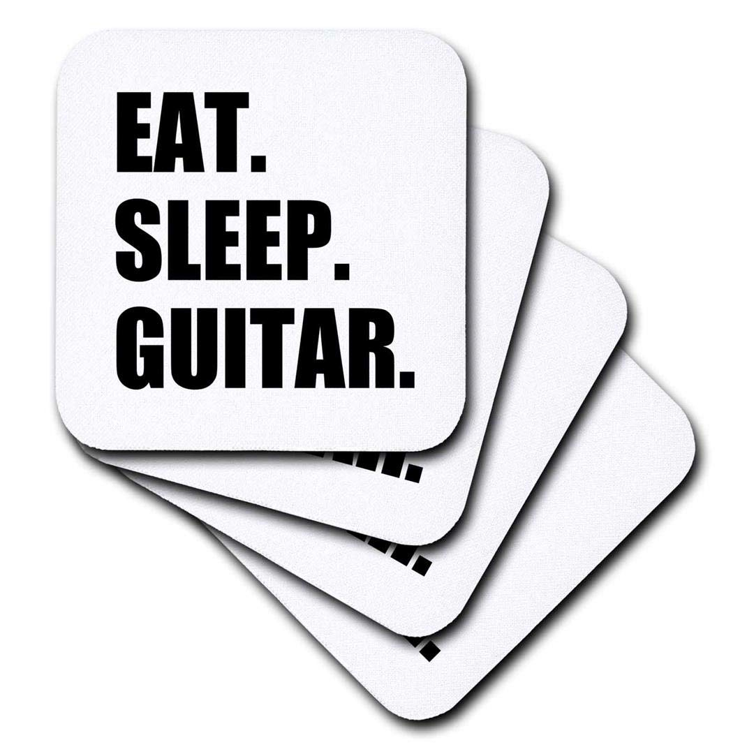 Set of 4 Fun Text Gifts for Guitarist Musicians 3dRose CST/_180408/_1 Eat Sleep Guitar Music Player Soft Coasters