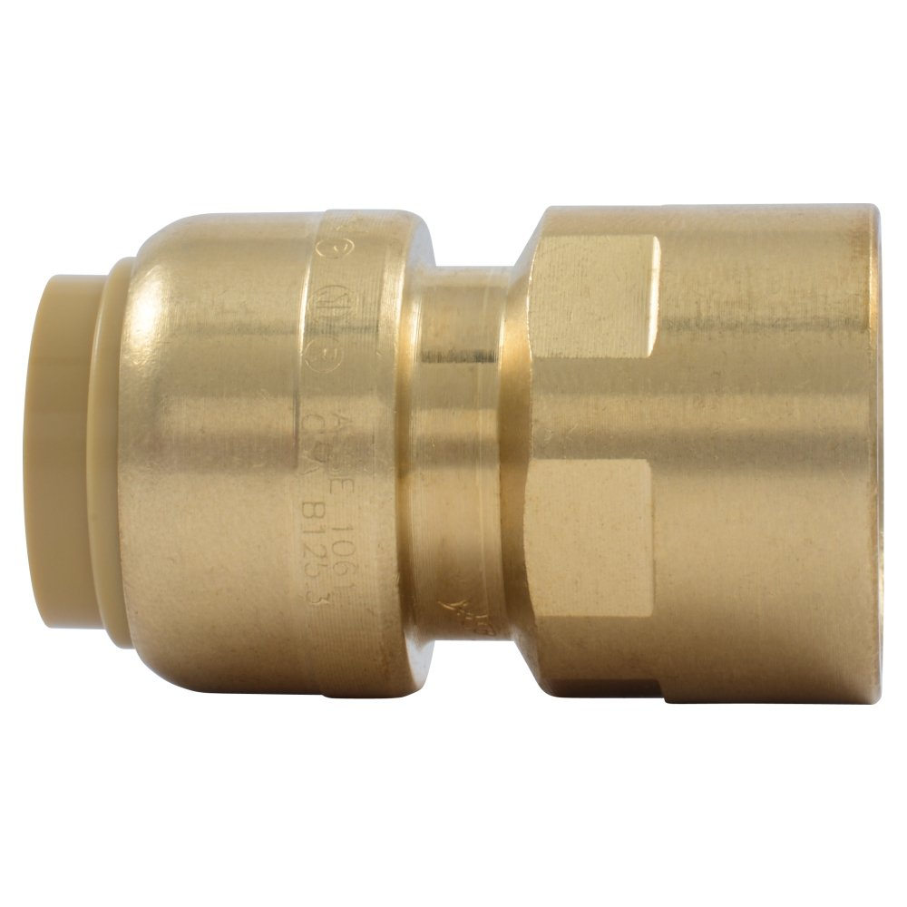 SharkBite U072LFA Straight Connector Plumbing Fitting, Female Adapter, 1/2 Inch by 1/2 Inch, FNPT, PEX Fittings, Push-to-Connect, Copper, CPVC