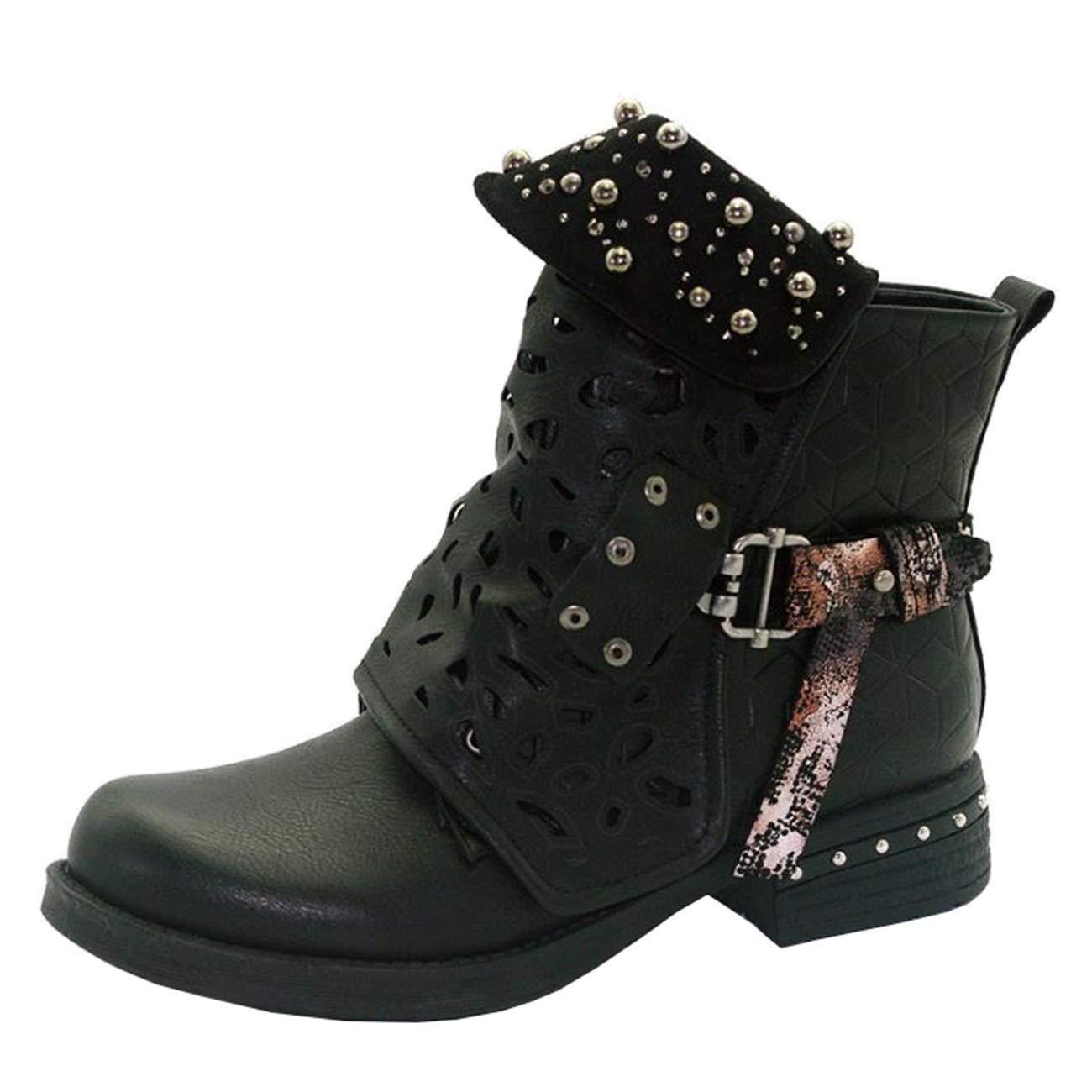 Qiusa Damen Rund-Toe Block-Heel Zip Schnalle Hohl Hohl Hohl Stiefeletten (Farbe   Schwarz Größe   4 UK) 63d6fc