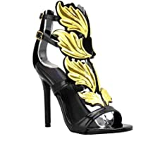 Olivia and Jaymes Fashionable Winged Open Toe High Heel Ankle Strap Wing Sandals for Women