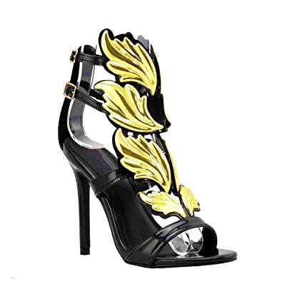 2d5ae9c9b812 Olivia and Jaymes Fashionable Winged Open Toe High Heel Ankle Strap Wing  Sandals for Women (