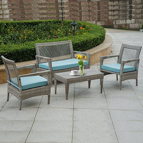 Auro Brisbane Outdoor Furniture | 4 Piece Rattan Patio Conversation Set | All-Weather Grey Wicker Deluxe Chat Set with 2 Blue Olefin Cushioned Chairs & Loveseat | Porch, Backyard, Pool, Garden
