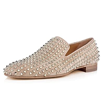 5cb58db2668c FSJ Men s Trendy Spiked Rivets Studded Loafers Shoes Round Toe Low Heel  Comfort Slip On Dress