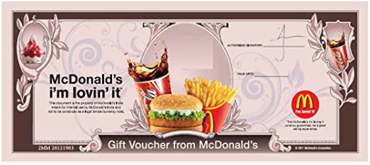 McDonalds Gift Voucher-Rs.300: Amazon.in: Gift Cards