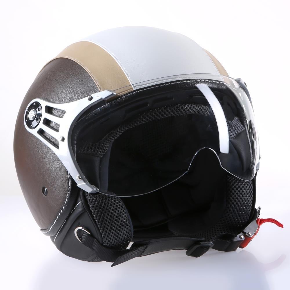 Motorradhelm Jethelm Rollerhelm CMXChap wei/ß beige mit Leder braun L