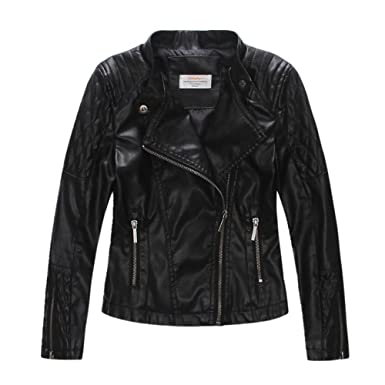 6b7ce2ccdcee LJYH Girls Faux Leather Quilted Shoulder Motorcycle Jacket at Amazon ...