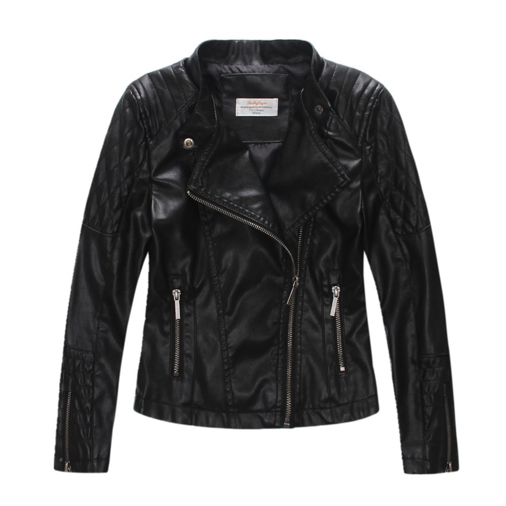 LJYH Girls'Faux Leather Quilted Shoulder Motorcycle Jacket by LJYH
