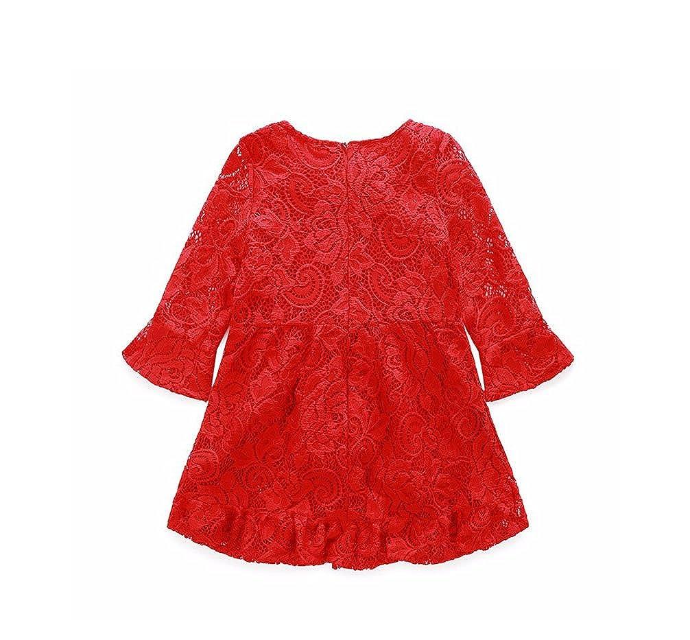 JIANLANPTT Baby Kids Girls Floral Lace Dress Party Clubwear Dresses Red 1-6Years