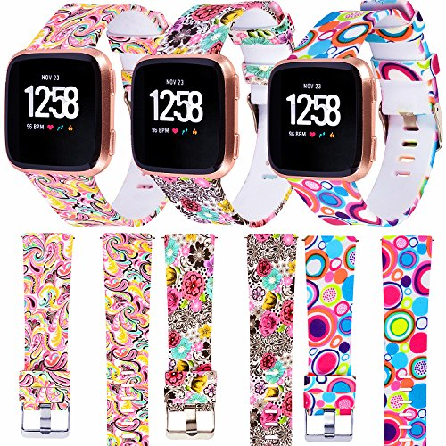 WISHTA 3PCS Fitbit Versa Replacement Watch Bands, Soft Resin Small& Large Sport Strap with Metal Buckle for Fitbit Versa Smart Watch