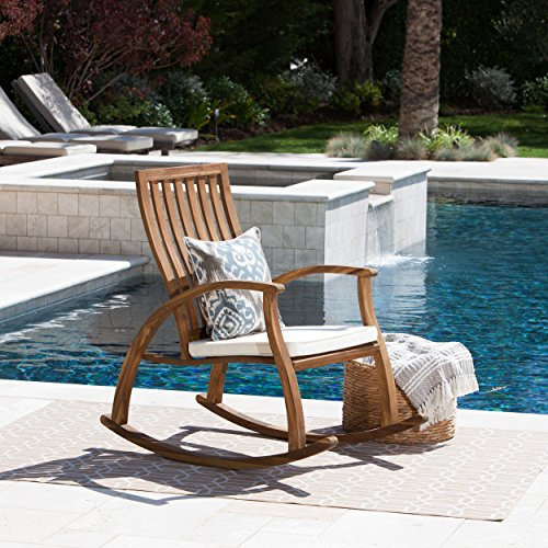 Caleb Outdoor Acacia Wood Rocking Chair with Water Resistant Cushion (Natural Stained/Cream)