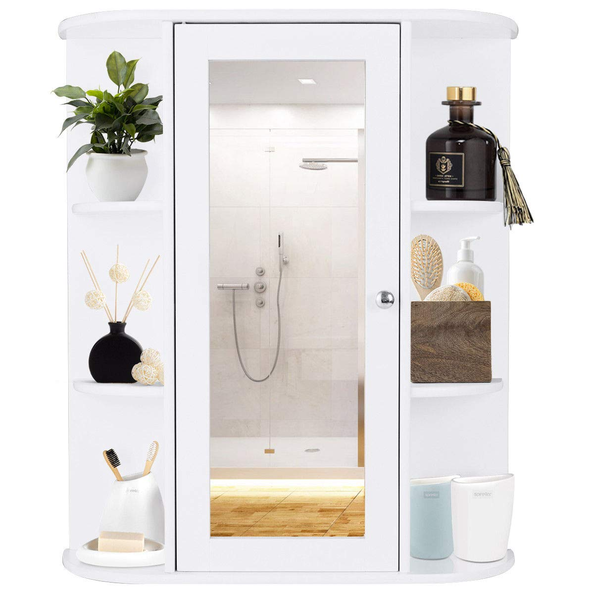 TANGKULA Bathroom Cabinet Single Door Wall Mount with Mirror Organizer Storage Cabinet(2 Tier Inner Shelves) by TANGKULA (Image #4)