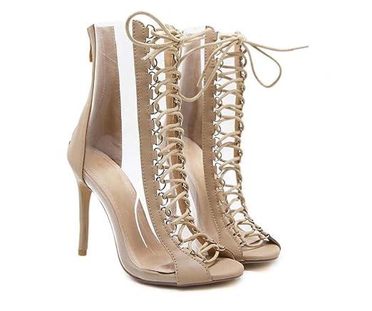 Femmes 10.5cm Stiletto Peep Toe Cross Straps Transparent Bottes Cool Charme Creux Lace-up Zipper Robe Chaussures Roma Chaussures Eu Taille 34-40 ( Color : Black , Size : 35 )