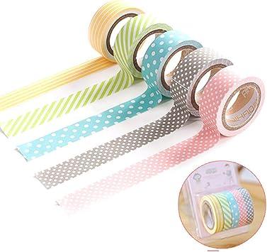 5 Rolls Colorful Washi Tape Decorative Sticky Paper Masking Tape Adhesive 3 Size