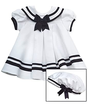 2899e559413a1 Amazon.com: Rare Editions White Nautical Dress Set with Hat (3m-24m ...
