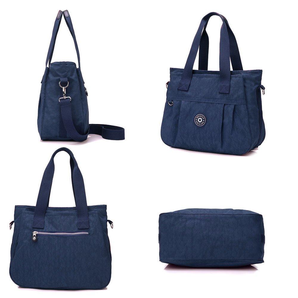 36bbbd79c0f4 Women s Multi-Pocket Casual Handbags Waterproof Nylon Top-Handle Bag  Messenger Cross Body Bag Large Capacity (Navy)  Amazon.co.uk  Shoes   Bags