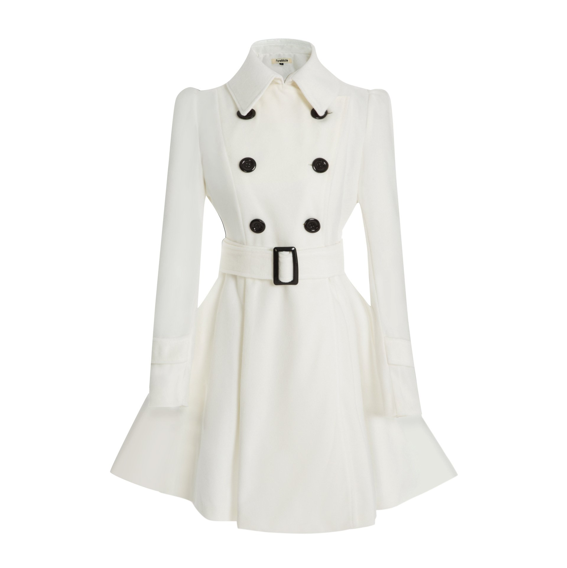 ForeMode Women Double Breasted Trench Coat with Belt Buckle Spring Mid-Long Long Sleeve Casual Dresses Style Outwear(White M)