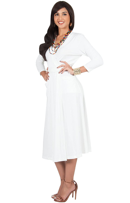 9b6eec967d Koh Koh Womens 3 4 Long Sleeve Modest Pockets Flowy Wrap Knee Length Work  Casual Wedding Guest Formal Fall Winter Spring Summer Cute Robe Midi Dress  Dresses ...