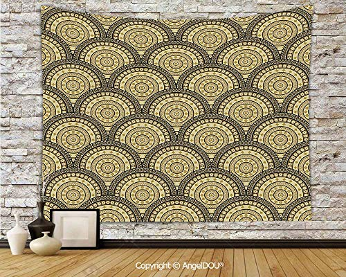 (AngelDOU Geometric Soft Fabric Durable Tapestry Wall Hanging Arabesque Middle Eastern Lace Style Moroccan Ottoman Persian Floral Forms Wall Art Hippie Tapestry.W78.7xL59(inch))