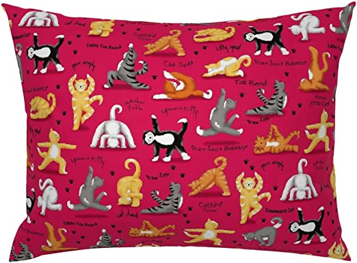 Amazon Com Roostery Pillow Sham Red Cat Cat Tree Pose Funny Cat Words Whimsical Felines Cat Yoga Poses Whimsy Kittens Kitty Workout Exercise Print 100 Cotton Sateen 26in X 26in Knife Edge Sham Home