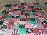 "REVERSIBLE Handmade Rag Quilt Twin/XL 60""x87"" with TWIN Pillow Sham Pinks, Aqua"