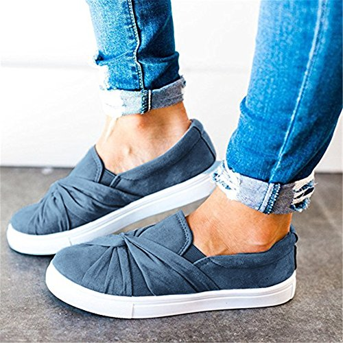 Huiyuzhi Womens Slip On Top geraffte Knoten Flatform Fashion Sneakers Denim Blue
