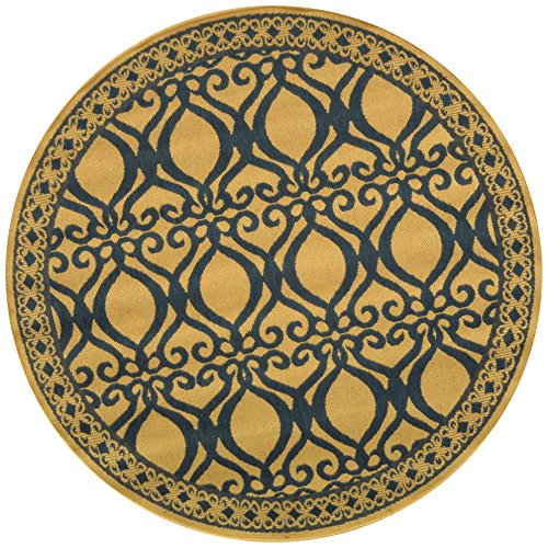 Safavieh Courtyard Collection CY3040-3101 Natural and Blue Indoor/Outdoor Round Area Rug (6'7