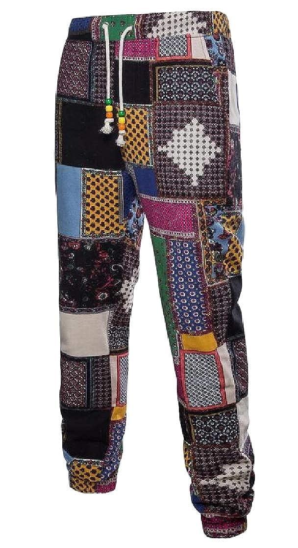Joe Wenko Men Jogger Ethnic Style Patch Comfortable Casual Pants