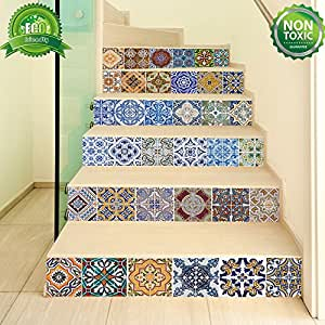 Backsplash Tile Stickers, DIY Tile Decals Mexican Traditional Talavera Waterproof Peel and Stick Home Decor StairCase Decal Stair Mural Decals for Marble Bathroom Kitchen 18x100cmx6 PCS