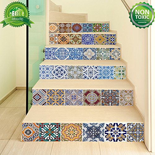 Backsplash Tile Stickers, DIY Tile Decals Mexican Traditional Talavera Waterproof Peel and Stick Home Decor StairCase Decal Stair Mural Decals for Marble Bathroom Kitchen 18x100cmx6 PCS (Art Spanish Tile)
