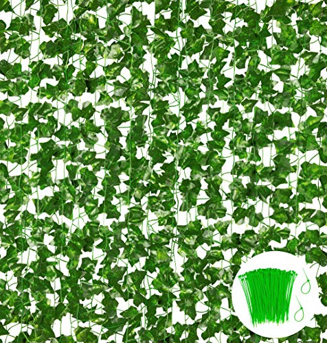18 Pack 124 Feet Fake Vines for Bedroom Decor Aesthetic Greenery Ivy Leaves Garland Artificial Hanging Plants for…
