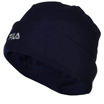 0e5fb0846cc Amazon.com   FILA Mens Womens Thermal Fleece Winter Warm Turn Up Beanie Hat  - Dark Blue - M   Beauty
