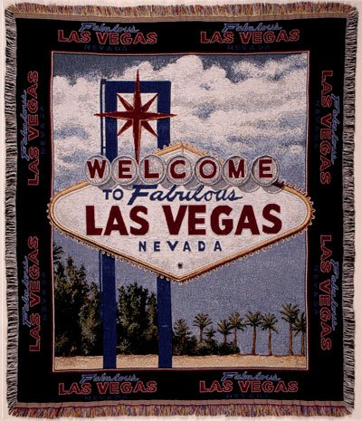 Simply Home Welcome to Las Vegas Sign Tapestry Throw Blanket Afghan 50