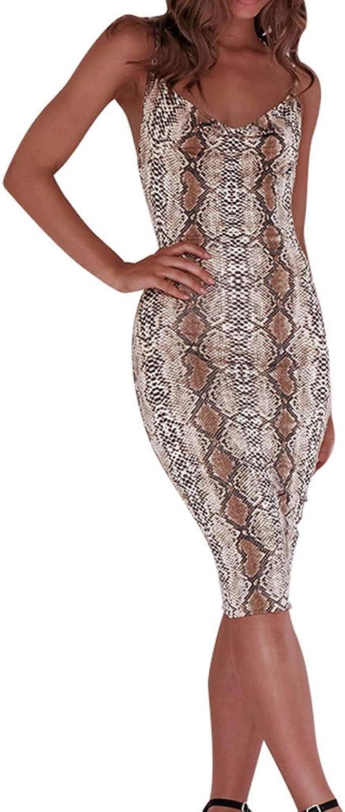 SCHOLIEBEN Kleid Kleider Sommerkleid Sommer Enges Damen Sexy Elegante  Schöne Knielang Abschlussball Leoaprd Bandeau V Ausschnitt Bodycon Tunika