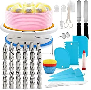 مجموعة خبز وتزيين الكيك والحلويات متعددة الاستخدامات تتضمن رؤوس تزيين وطاولة تدوير الكيك واكياس تزيين الكريمة، 106 قطعة