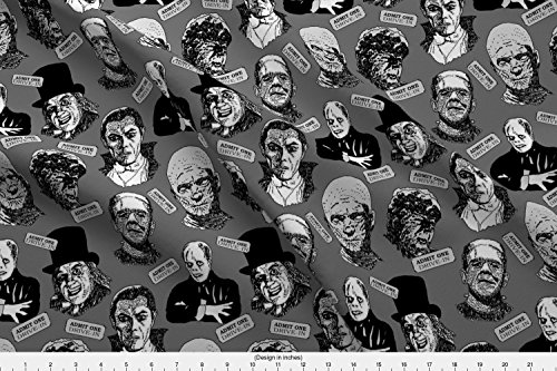 Spoonflower Frankenstein Fabric Halloween At The Movies Ink Sketch Light by Leroyj Printed on Kona Cotton Ultra Fabric by the Yard -