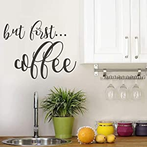 "BATTOO But First Coffee Wall Decal Kitchen Decor - Coffee Decor - Home Decor Kitchen Decal - Coffee Wall Decal - Kitchen Sticker Home Wall Decals(Black, 16"" WX13 H)"