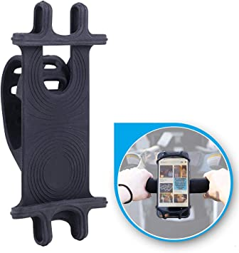 APzek Bike Phone Mount 4.0-6.5 Phones Galaxy S10+ S10 S10e S9 S8 360/° Rotation Cell Phone Holder for Bike Universal Silicone Bicycle Phone Mount for iPhone Xs Max Xs Xr X 8 Plus 8 7 6s Plus