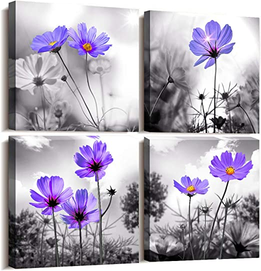 Amazon Com Wall Art For Living Room Black And White Purple Flower Canvas Wall Decor For Home Decor Artwork Painting 12 X 12 4 Pieces Canvas Print For Bedroom Decor Modern Salon Kitchen