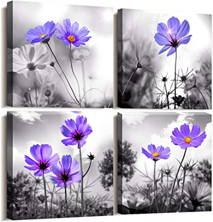 Amazon Com Wall Art For Living Room Black And White Purple Flower Canvas Decor Home Artwork Painting 12 X 4 Pieces Print Bedroom Modern Salon Kitchen