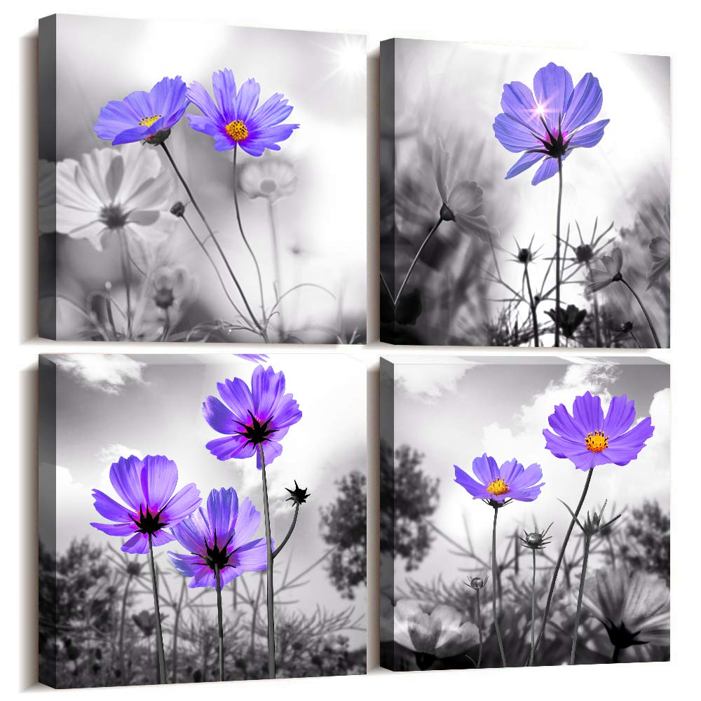 "Canvas Wall Art for Bedroom Black and White Landscape Purple Flowers Bathroom Wall Decor for Kitchen Artwork 12"" x 12"" 4 Pieces Framed Canvas Prints Ready to Hang Home Decorations for Living Room"