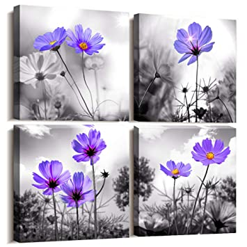 Wall Art For Living Room Black and White purple flower Canvas Wall Decor  for Home Decor artwork painting 12\