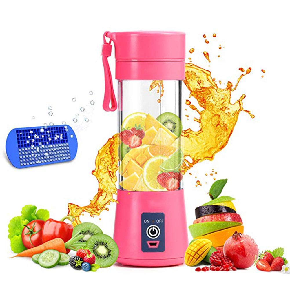 Portable Blender, Smoothie Juicer Cup - Six Blades in 3D, 13oz Fruit Mixing Machine with 2000mAh USB Rechargeable Batteries, Detachable Cup, Perfect Blender for Personal Use