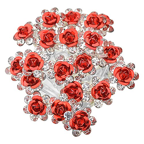 l Wedding Rhinstone Hair Pins 2.4 Inches Bridal Prom Clips Rose U-shaped Hair Pins for Women and Girls, Red (20 Red Roses)