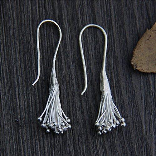 Tribe Silver Hill Karen Ring - Handmade Sterling Silver Tassel Earrings With Box Packing, Karen Hill Tribe Silver Earrings,Gift For Her